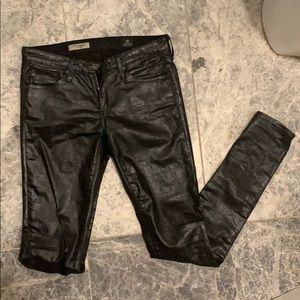 AG Jeans super skinny black coated jeans
